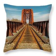 Iron Railroad Bridge Over Water, Texas Throw Pillow