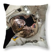 Iss Expedition 38 Spacewalk Throw Pillow