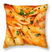 Italian Pasta - Penne All'arrabbiata Throw Pillow