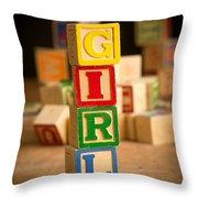 Its A Girl - Alphabet Blocks Throw Pillow