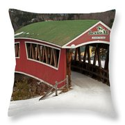 Jackson Cross Country Skiing Bridge Throw Pillow