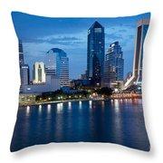 Jacksonville Skyline At Dusk Throw Pillow