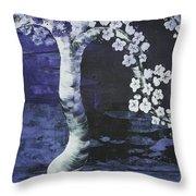 Japanese Cherry Blossom Throw Pillow