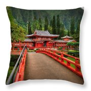 Japanese Temple Throw Pillow