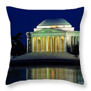 Jefferson Memorial At Night Throw Pillow