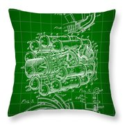 Jet Engine Patent 1941 - Green Throw Pillow