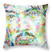 Jimi Hendrix Watercolor Portrait.1 Throw Pillow
