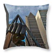 Joe Louis Fist In Detroit  Throw Pillow