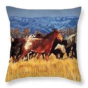 Joe's Horses Throw Pillow