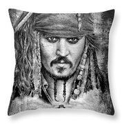 Johnny Depp Throw Pillow by Andrew Read