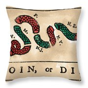 Join Or Die Cartoon 1754 Throw Pillow by Benjamin Franklin
