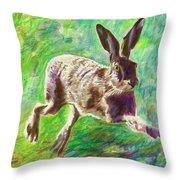 Joyful Hare Throw Pillow