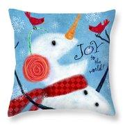 Joyful Snowman Throw Pillow