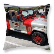 Jurassic Park Jeeps Throw Pillow