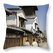 Kawagoe Bell Tower Throw Pillow
