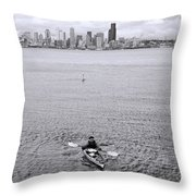 Kayaking Elliot Bay Throw Pillow