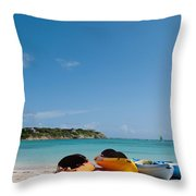 Kayaks On Beach Throw Pillow