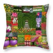 Keukenhof Gardens Collage Throw Pillow