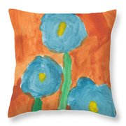 Kid Watercolor Drawing - Three Flowers Throw Pillow