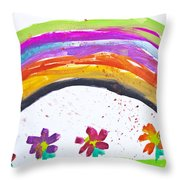 Kid's Drawing With Flowers And Colorful Rainbow Throw Pillow