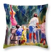 Kids Fishing Throw Pillow
