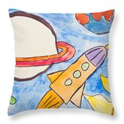 Kid's Painting Of Universe With Planets And Stars Throw Pillow