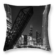 Kinzie Street Railroad Bridge At Night In Black And White Throw Pillow