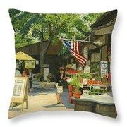 Kirkwood Farmers Market American Flag Throw Pillow
