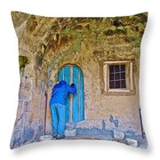 Knocking On A Blue Door Of Tufa Home In Goreme In Cappadocia-turkey  Throw Pillow