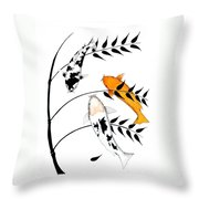 Koi Utsurimono Yellow Golden Ogon Bekko And Bamboo   Throw Pillow