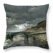La Pointe De La Heve At Low Tide Throw Pillow