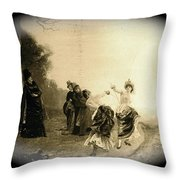 Lady Fencers Lithograph Ghost Town Virginia City Montana 1971-2008 Throw Pillow
