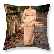Lady In Regency Dress Walking Throw Pillow