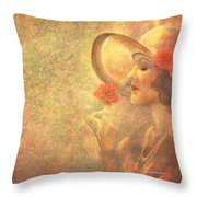 1-lady In The Flower Garden Throw Pillow