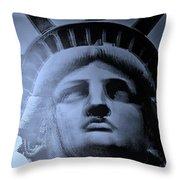Lady Liberty In Cyan Throw Pillow