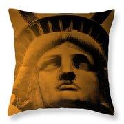 Lady Liberty In Orange Throw Pillow