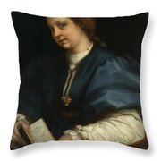 Lady With A Book Of Petrarch's Rhyme Throw Pillow
