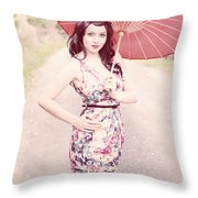 Lady With Red Parasol Throw Pillow