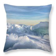 Lake Erie Ice Sunrise Throw Pillow
