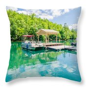 Lake Fontana Boats And Ramp In Great Smoky Mountains Nc Throw Pillow