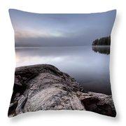 Lake In Autumn Sunrise Reflection Throw Pillow