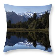 Lake Matheson New Zealand Throw Pillow