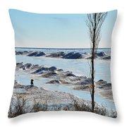 Lake Michigan Ice Throw Pillow