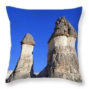 Landscape Of Limestone Fairy Chimneys At Zelve In Cappadocia Turkey Throw Pillow