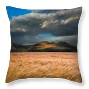 Landscape Of Windy Wheat Field In Front Of Mountain Range With D Throw Pillow