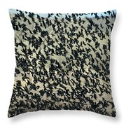 Large Flock Of Blackbirds And Cowbirds Throw Pillow