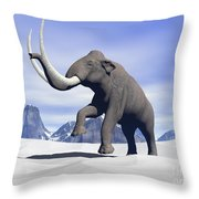 Large Mammoth Walking Slowly Throw Pillow by Elena Duvernay
