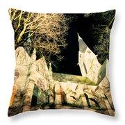Large Stone Church At Night Throw Pillow