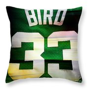 Larry Bird Throw Pillow by Marvin Blaine