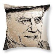 Larry Hagman In 2011 Throw Pillow by J McCombie